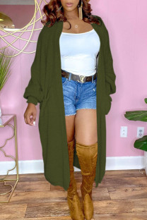 Green Casual Solid Split Joint Outerwear