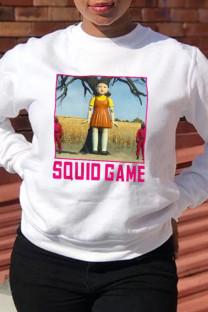 White Street Cute Print Split Joint Letter O Neck Tops (squid game)