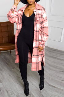Pink Casual Plaid Split Joint Turndown Collar Outerwear