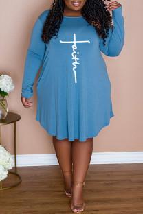 Light Blue Casual Print Split Joint O Neck A Line Plus Size Dresses