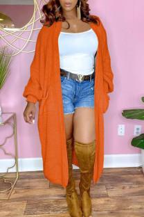 Orange Casual Solid Split Joint Outerwear
