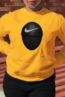 Yellow Fashion Sportswear Print Split Joint O Neck Tops (squid game)