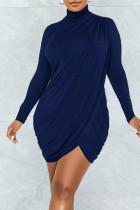 Deep Blue Sexy Solid Split Joint Fold Asymmetrical Turtleneck One Step Skirt Dresses
