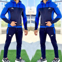 Royal Blue Fashion Casual Letter Split Joint Hooded Collar Long Sleeve Two Pieces