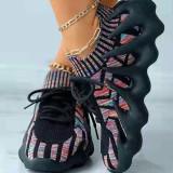 Dark Gray Fashion Sportswear Split Joint Closed Sport Shoes
