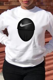 White Fashion Sportswear Print Split Joint O Neck Tops (squid game)