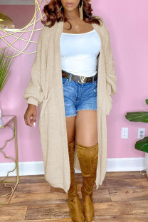 Apricot Casual Solid Split Joint Outerwear
