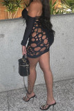 Black Fashion Sexy Solid Hollowed Out Backless Off the Shoulder Long Sleeve Plus Size Dresses