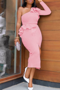 Pink Fashion Sexy Solid Slit Oblique Collar Evening Dress