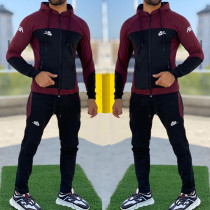 Burgundy Fashion Casual Letter Split Joint Hooded Collar Long Sleeve Two Pieces