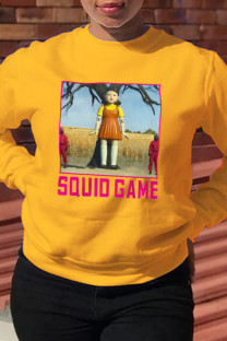 Yellow Street Cute Print Split Joint Letter O Neck Tops (squid game)