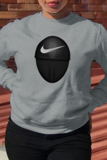 Grey Fashion Sportswear Print Split Joint O Neck Tops (squid game)