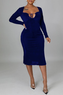 Royal Blue Sexy Solid Split Joint Frenulum Backless Asymmetrical Collar One Step Skirt Dresses