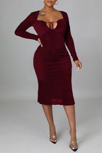 Burgundy Sexy Solid Split Joint Frenulum Backless Asymmetrical Collar One Step Skirt Dresses