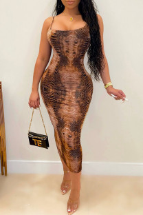 Khaki Fashion Sexy Print Backless Spaghetti Strap Long Dress