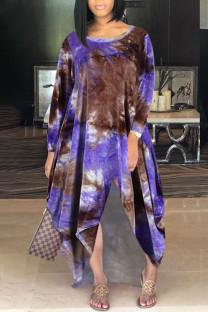 Purple Casual Print Tie Dye Split Joint Asymmetrical O Neck Irregular Dress Dresses