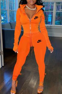 Orange Fashion Casual Print Split Joint Turndown Collar Long Sleeve Two Pieces
