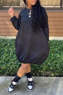 Black Casual Solid Split Joint O Neck Dresses