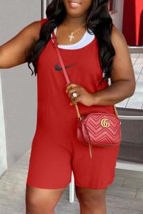 Red Fashion Street Print Split Joint U Neck Loose Jumpsuits