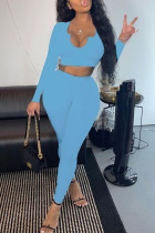 Sky Blue Casual Solid Split Joint V Neck Long Sleeve Two Pieces