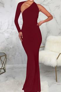 Burgundy Sexy Solid Split Joint Backless Asymmetrical Halter One Step Skirt Dresses