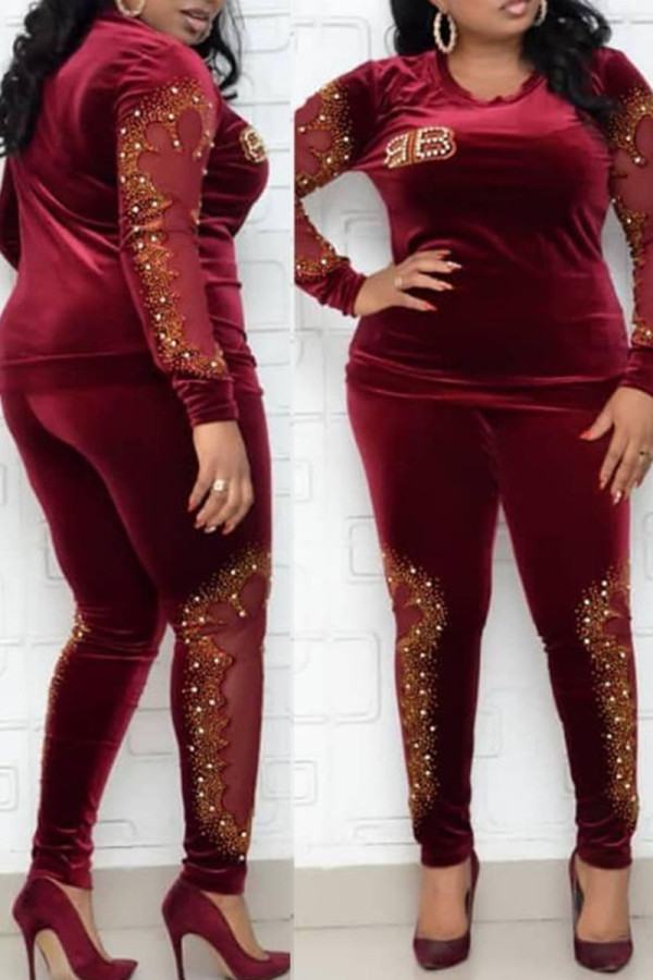 Red Fashion Casual Hot Drilling Hollowed Out Split Joint O Neck Plus Size Two Pieces