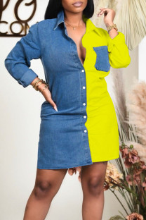 Yellow Casual Solid Split Joint Buckle Turndown Collar Shirt Dress Dresses