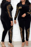 Blue Fashion Casual Hot Drilling Hollowed Out Split Joint O Neck Plus Size Two Pieces