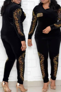 Black Fashion Casual Hot Drilling Hollowed Out Split Joint O Neck Plus Size Two Pieces