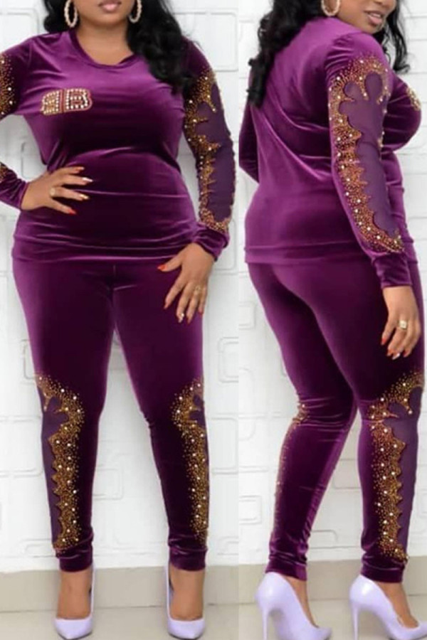 Purple Fashion Casual Hot Drilling Hollowed Out Split Joint O Neck Plus Size Two Pieces