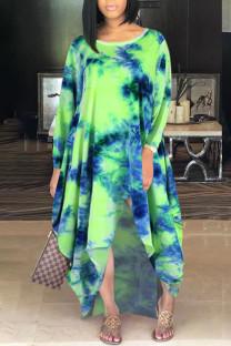 Green Casual Print Tie Dye Split Joint Asymmetrical O Neck Irregular Dress Dresses