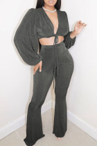 Grey Sexy Solid Split Joint Frenulum V Neck Long Sleeve Two Pieces