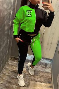 Fluorescent Green Casual Print Split Joint Zipper Zipper Collar Long Sleeve Two Pieces