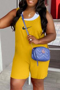 Yellow Fashion Street Print Split Joint U Neck Loose Jumpsuits