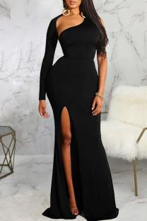Black Sexy Solid Split Joint Backless Asymmetrical Halter One Step Skirt Dresses