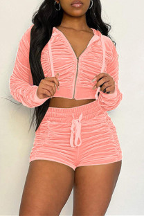 Pink Fashion Casual Solid Fold Zipper Collar Long Sleeve Two Pieces