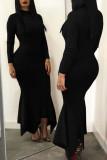 Black Casual Solid Split Joint Fold Asymmetrical Half A Turtleneck Trumpet Mermaid Dresses