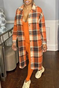 Orange Casual Plaid Split Joint Turndown Collar Outerwear