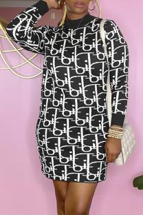 Black Fashion Casual Print Split Joint O Neck A Line Dresses
