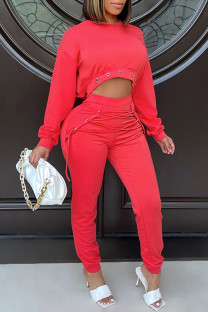 Red Casual Street Solid Split Joint Frenulum Asymmetrical O Neck Long Sleeve Two Pieces