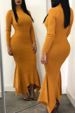 Yellow Casual Solid Split Joint Fold Asymmetrical Half A Turtleneck Trumpet Mermaid Dresses