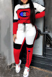 Red Fashion Celebrities Print Split Joint Hooded Collar Long Sleeve Two Pieces