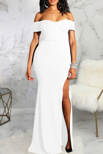 White Fashion Sexy Solid Backless Slit Off the Shoulder Evening Dress
