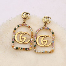 Gold Fashion Vintage Letter Hot Drill Earrings