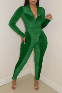 Green Casual Solid Split Joint Zipper Collar Regular Jumpsuits