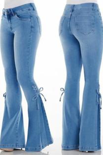 Light Blue Casual Street Solid Bandage Split Joint High Waist Boot Cut Denim Jeans