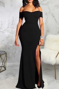 Black Fashion Sexy Solid Backless Slit Off the Shoulder Evening Dress