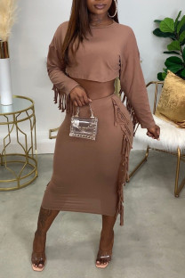 Brown Casual Solid Tassel Split Joint O Neck Long Sleeve Two Pieces