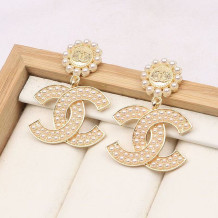 Gold Fashion  Simplicity Letter Pearl Earrings