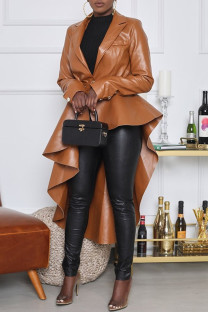 Brown Fashion Casual Solid With Belt Asymmetrical Turndown Collar Outerwear